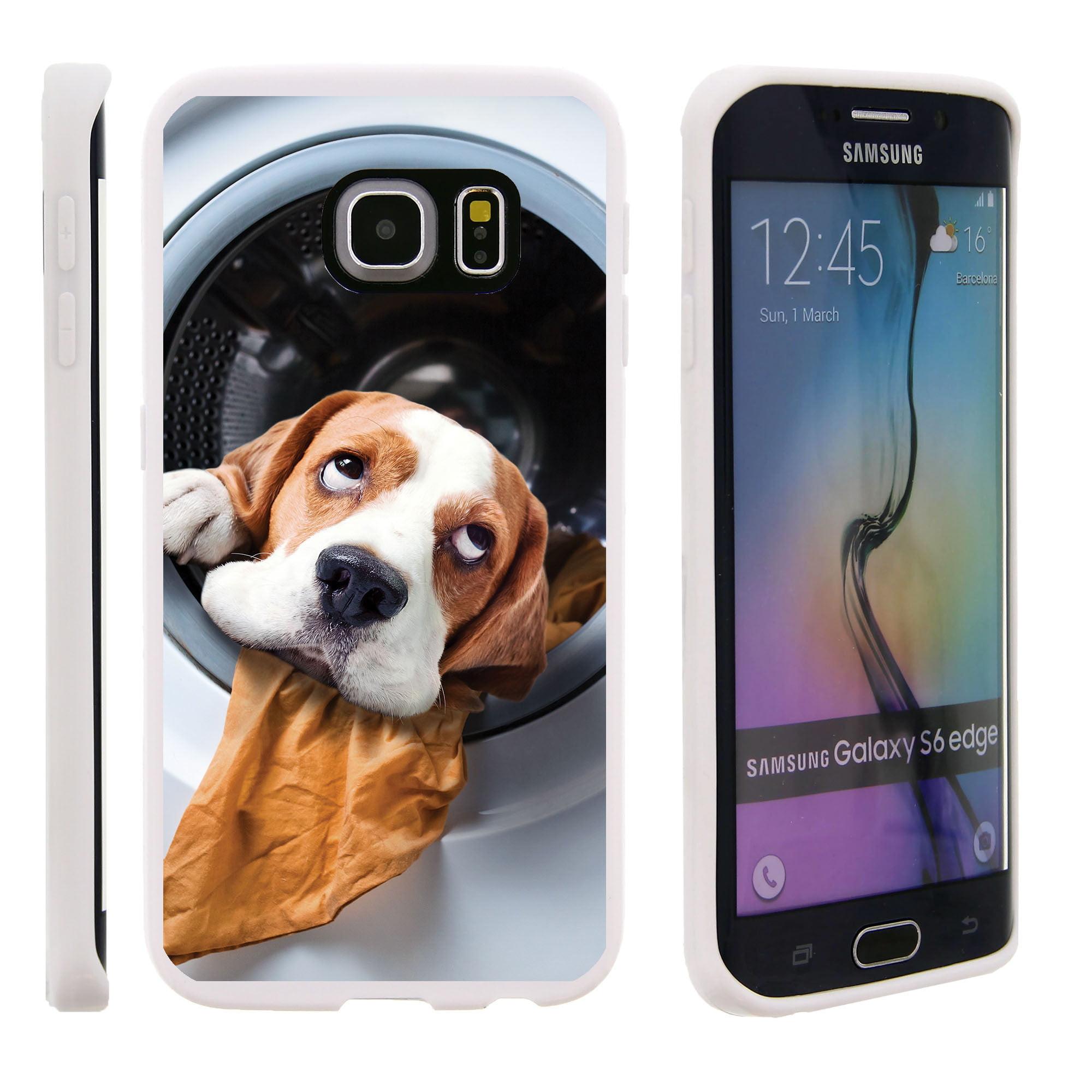 Samsung Galaxy S6 Edge G925, Flexible Case [FLEX FORCE] Slim Durable TPU Sleek Bumper with Unique Designs - Dog in Dryer