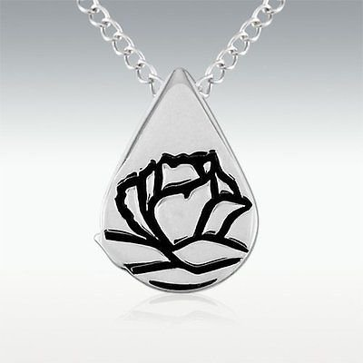 Rose Teardrop Sterling Silver Pendant Necklace on 18 S.S. Chain Trifari Drop Necklace