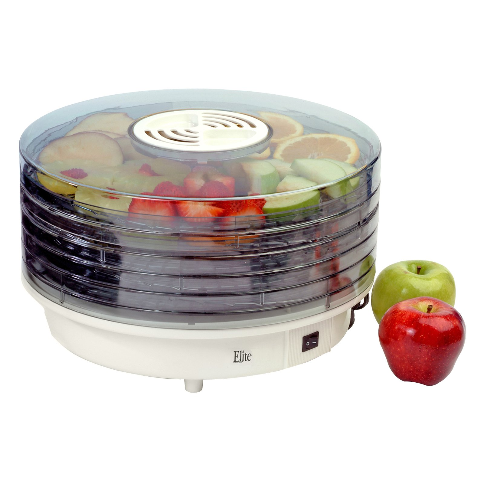 Maxi Matic Elite Gourmet 5-Tray Rotating Food Dehydrator, White