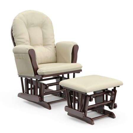Storkcraft Bowback Glider and Ottoman Cherry Finish and Beige Cushions ()