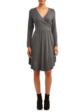 Love Sadie Women's V-Neck Long Sleeve Knit Dress