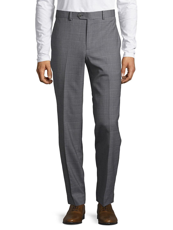 Slim-Fit Windowpane Wool Pants