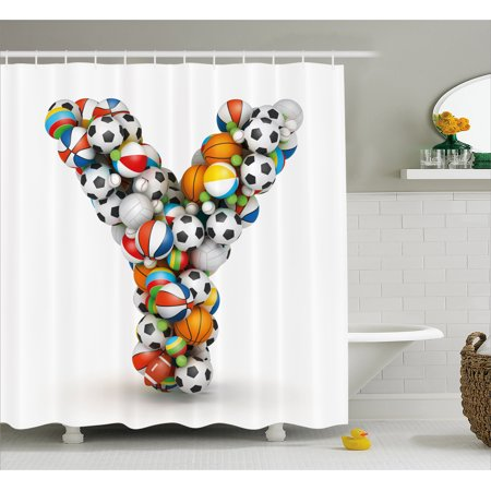 Letter Y Shower Curtain ABC Of Athleticism Theme With Various Different Balls
