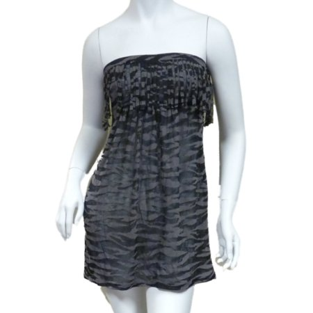 Bongo Junior Womens Black Swim Suit Cover Up Fringed Zebra Strapless Sun Dress