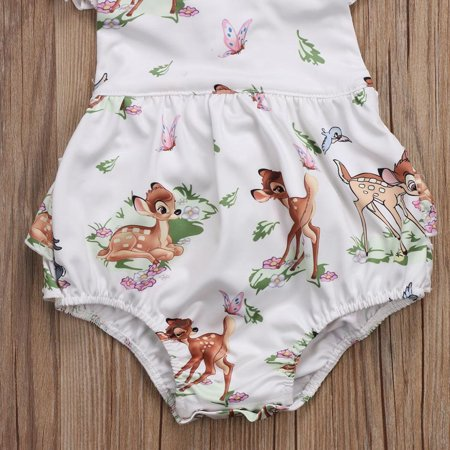 Toddler Infant Baby Girl Clothes Christmas Deer Romper Headband Set Outfit - Girls Christmas Outfits Boutique