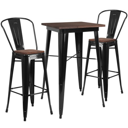 Tremendous Flash Furniture 23 5 Square Black Metal Bar Table Set With Wood Top And 2 Stools Walmart Com Pabps2019 Chair Design Images Pabps2019Com