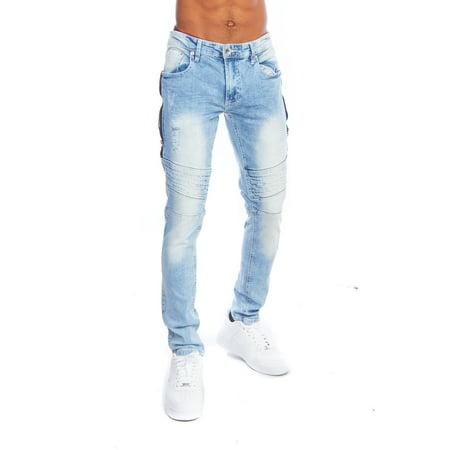e78978a9e21c9 Genx - Mens Dope Biker Distressed Side Zipper Skinny Fit Washed Denim Jeans  18121-3117-29/30-Lt.Blue - Walmart.com
