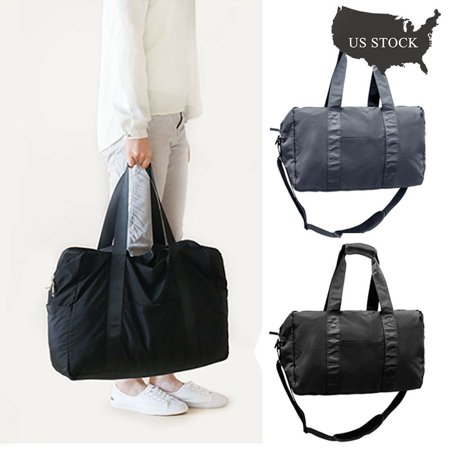 IClover Small Lightweight Travel Duffle Bag Weekend Handbag with [Back Straps] & [Double Sides Zippers] for Luggage Gym & Sports - Dark Blue - Small Duffle Bag