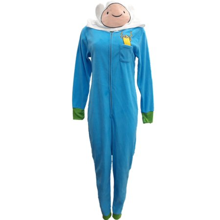 Adventure Time Jake Pajamas (Womens Blue Adventure Time Finn The Human Union Suit Blanket Sleeper)
