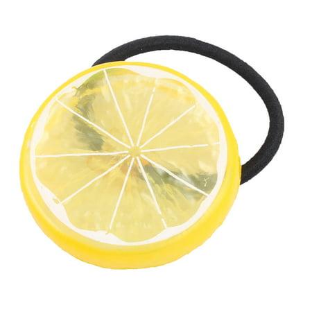 Unique BargainsGirl Elastic Fabric Rope Lemon Shaped Headband Hairdress Hair Ponytail Holder - Lemon Heads