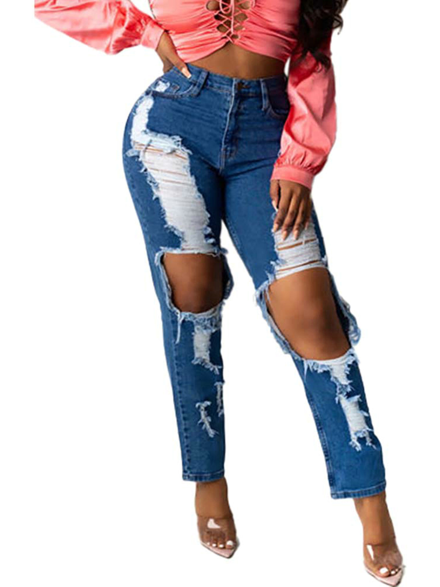 Ladies Denim Casual Skinny Ripped Pants High Waist Stretch Jeans Women Trousers