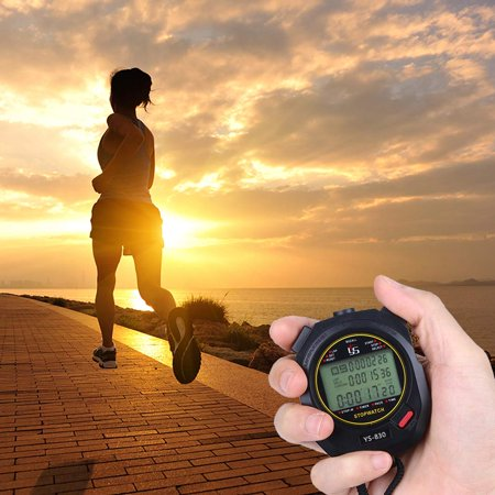 Juslike Digital Handheld LCD Chronograph Water Resistant Stop Watch Waterproof 12/24 Hour Sports Stopwatch Timer with Alarm Calendar  for Sports Coaches Fitness Coaches and Referees(30 Laps) (Stopwatch Handheld)