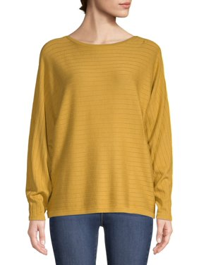 Time and Tru Women's Boat Neck Dolman Sleeve Top