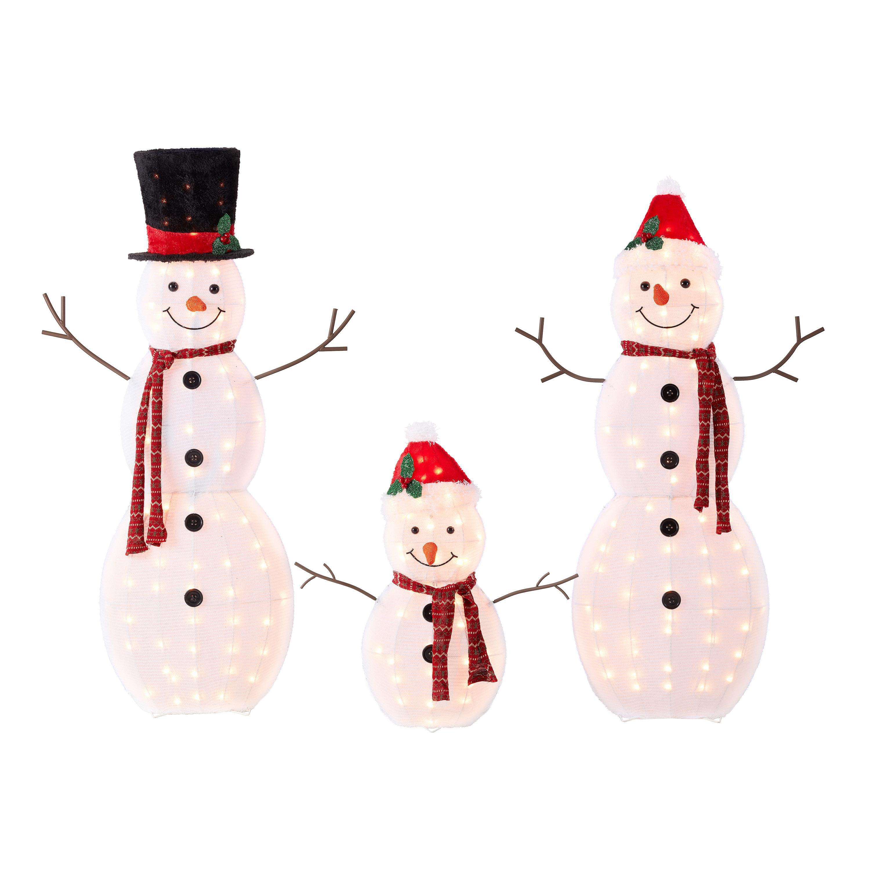 Holiday Time Light up Outdoor 20 Piece Snowman Family Decoration Set