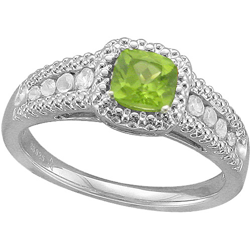 .83 Carat T.G.W. Cushion-Shaped Peridot and White Sapphire Fashion Ring in Sterling Silver