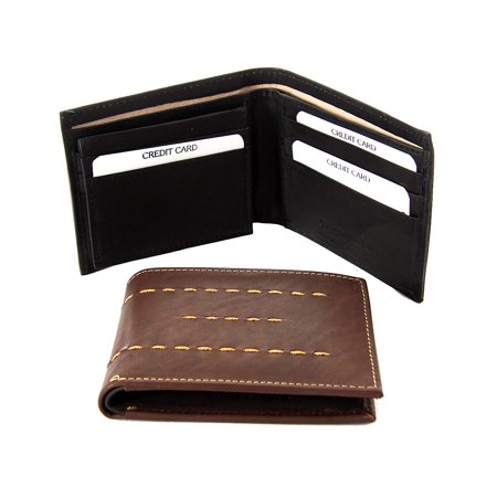 Men's Leather Double Bill 8 Credit Card 1 Id Bifold Black Wallet 4.5 x 3.5
