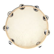 "10"" Hand Held Tambourine Drum Bell Birch Metal Jingles Percussion Musical Educational Instrument for KTV Party Kids Games"