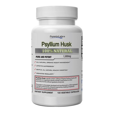 Superior Labs Psyllium Husk | 100% Pure | 1000mg Per Serving | Pure Vegetable Capsules | Zero Synthetic Additives | Superior Absorption