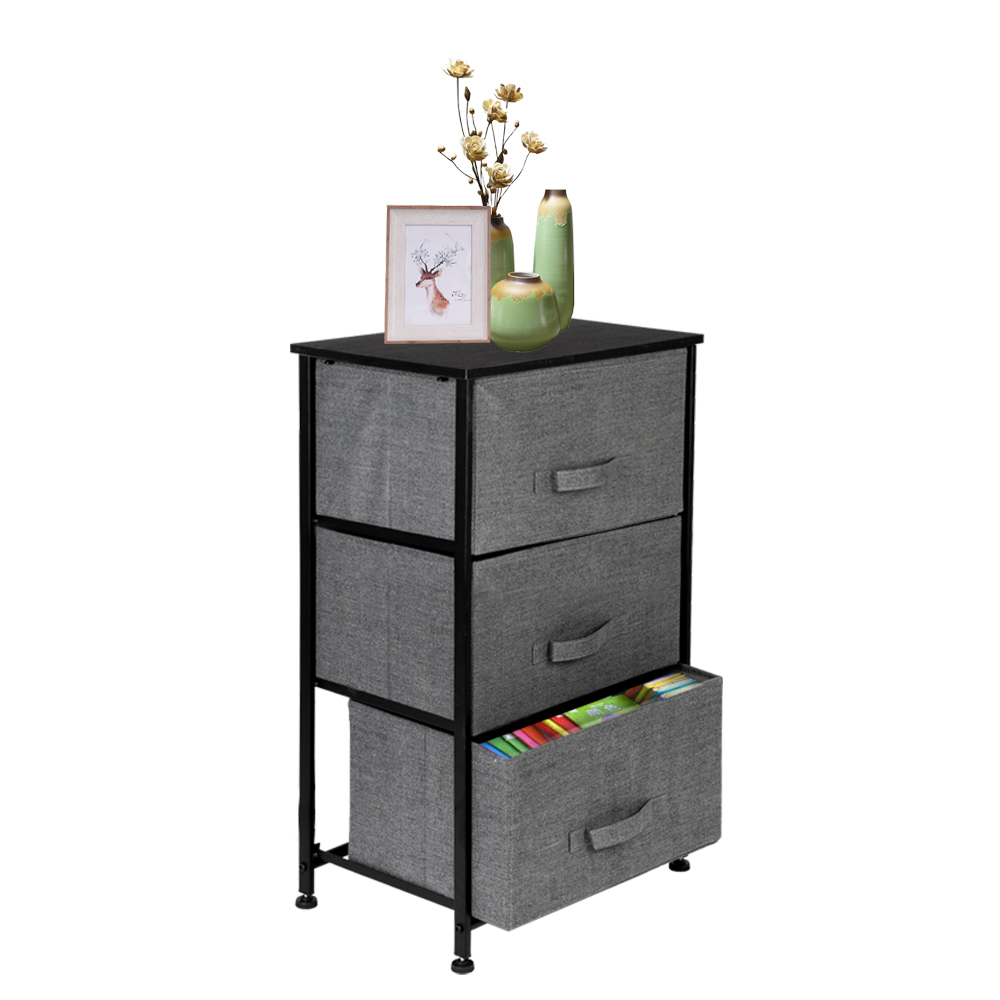Storage Unit With 3 Easy Pull Fabric Drawers And Metal