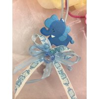 CHARMED Elephant Pacifier Necklaces Baby Shower Games Favors Prizes Blue Baby Boy's Cute and Adorable 12PC