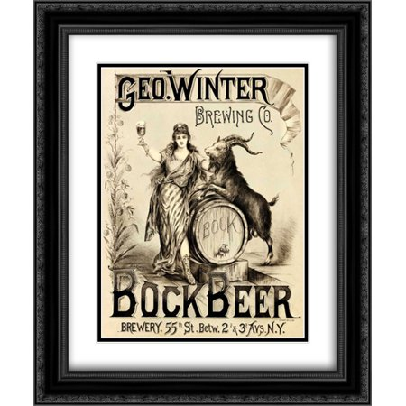 George Winter Brewing Company 2x Matted 20x24 Black Ornate Framed Art Print by Vintage Booze (Vintage Frame Company)