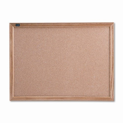 Quartet Cork Bulletin Board, Cork Over Fiberboard, 24 x 18, Natural Oak Frame