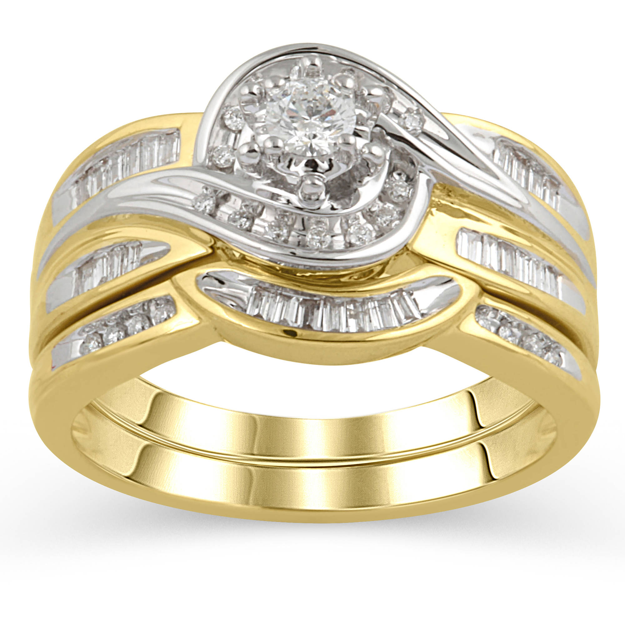 1 3 Carat T.W. Round and Baguette Diamond Bridal Set in 14kt Yellow Gold by