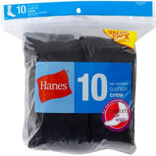 Hanes Ladies Crew Socks 10 Pack