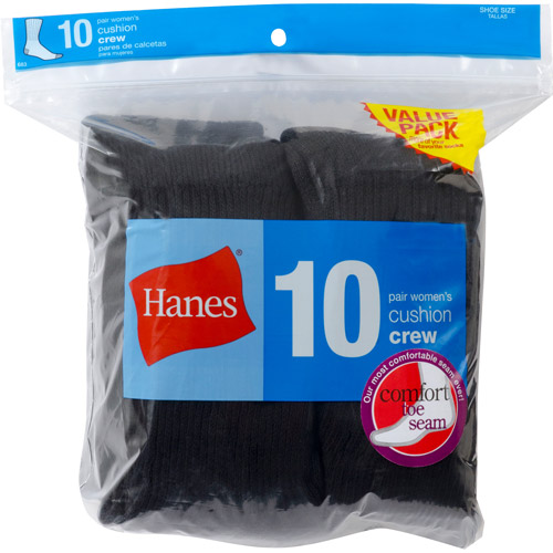 Hanes Ladies Crew Socks 10 Pack