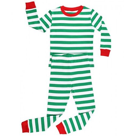 Elowel Striped 2 Piece Pajama Set Green & White Size 2