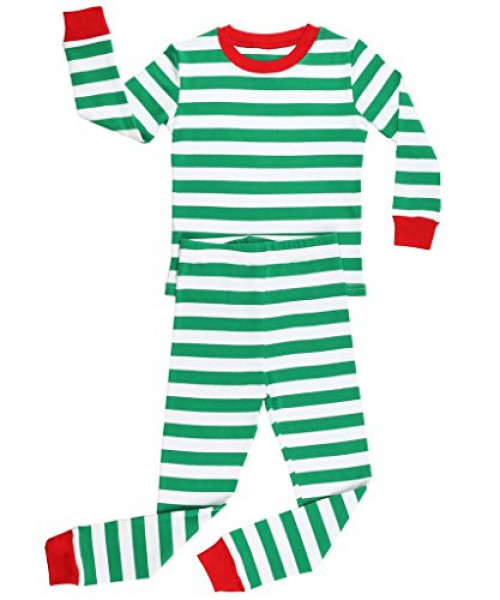 Elowel Striped 2 Piece Pajama Set Green & White Size 2