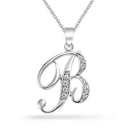 Initial 925 Silver Jewelry Pendant - 925 Silver CZ Cursive Initial Letter B Alphabet Necklace