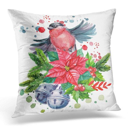 CMFUN Watercolor Christmas Composition with Bird Bullfinch Red Poinsettia  Bells Spruce Branches and Spray Paint Pillow Case Pillow Cover 18x18 inch
