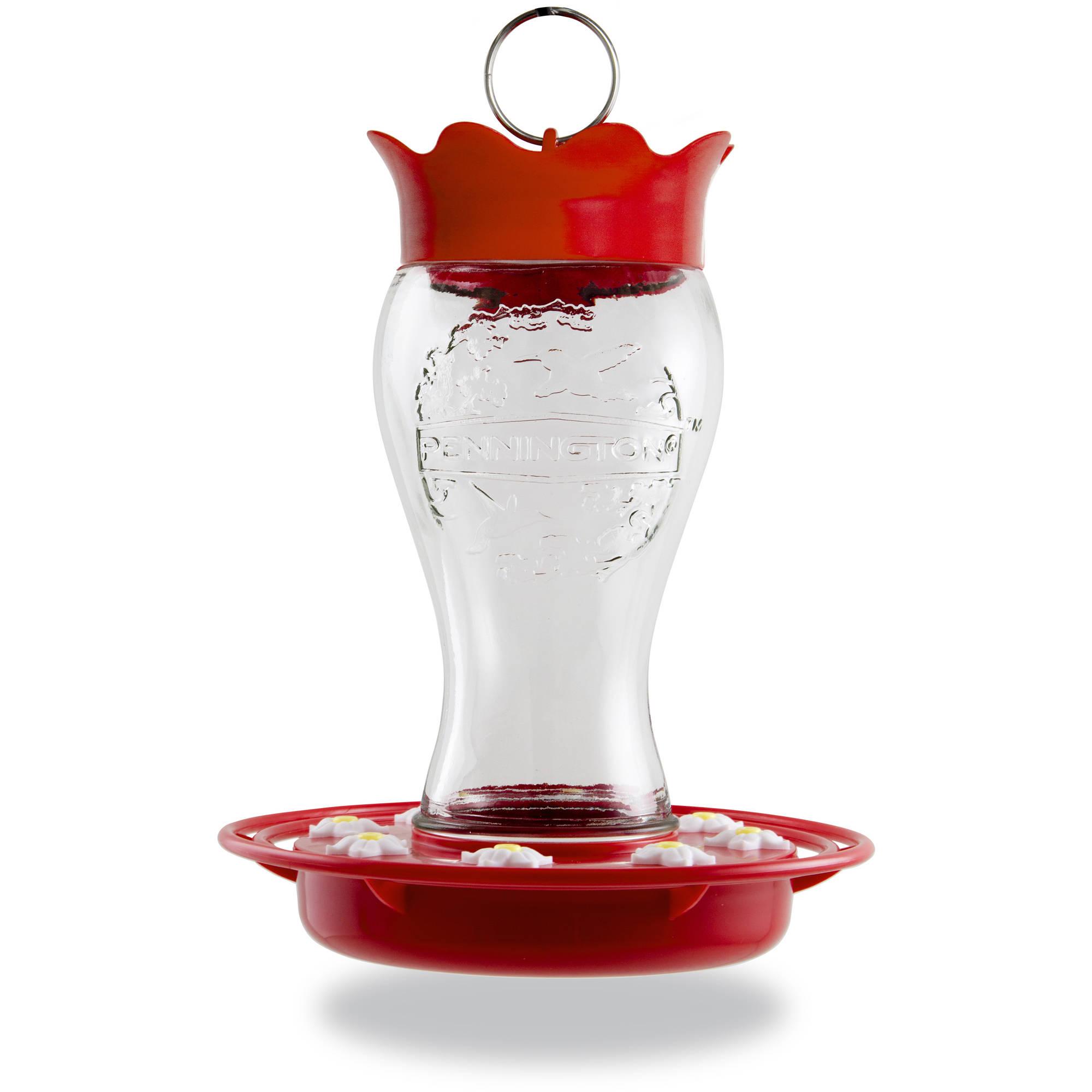 Pennington Hummingbird Feeder, Glass, Red, Holds 28 Ounces