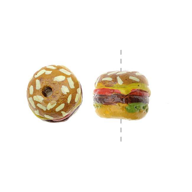 Glazed Ceramic Bead - Tiny Food Cheeseburger 8x9mm (2)