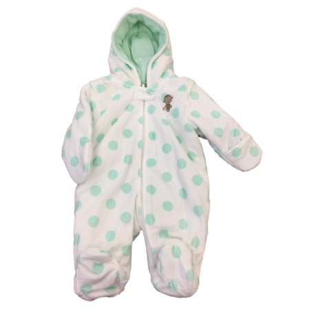 Carters Infant Girls Plush White & Green Polka Dot Pram Suit Baby Bunting 0-3m - Baby Bunting Suit