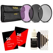 Vivitar UV CPL FLD Filter Set + Lens Cleaning Tissue + Cleaning Kit for Nikon Canon and All DSLR Camera Lenses with 58mm Thread Size