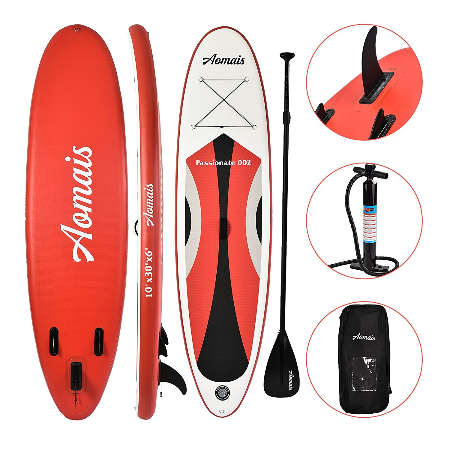uEnjoy Inflatable Stand Up Paddle Board (6 Inches Thick) Non-Slip Deck Adjustable Paddle Backpack,Pump,Repairing kit