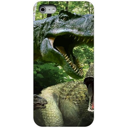 CUSTOM Black Hard Plastic Snap-On Case for Apple iPhone 5 / 5S / SE - T-Rex Dinosaurs -