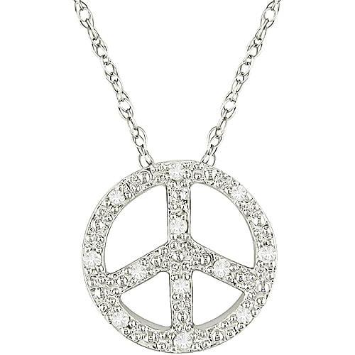Miabella 10kt White Gold Peace Pendant with Diamond Accents