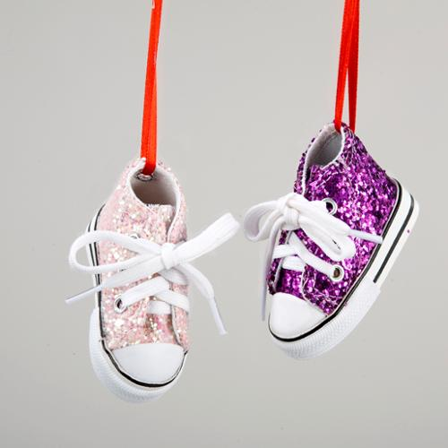 Pack of 24Tween Christmas High-Top Glitter Sneaker Christmas Ornaments 2.75""