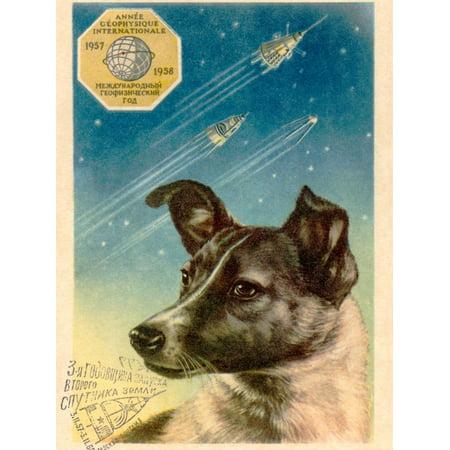 Laika the Space Dog Postcard Print Wall Art By Detlev Van Ravenswaay