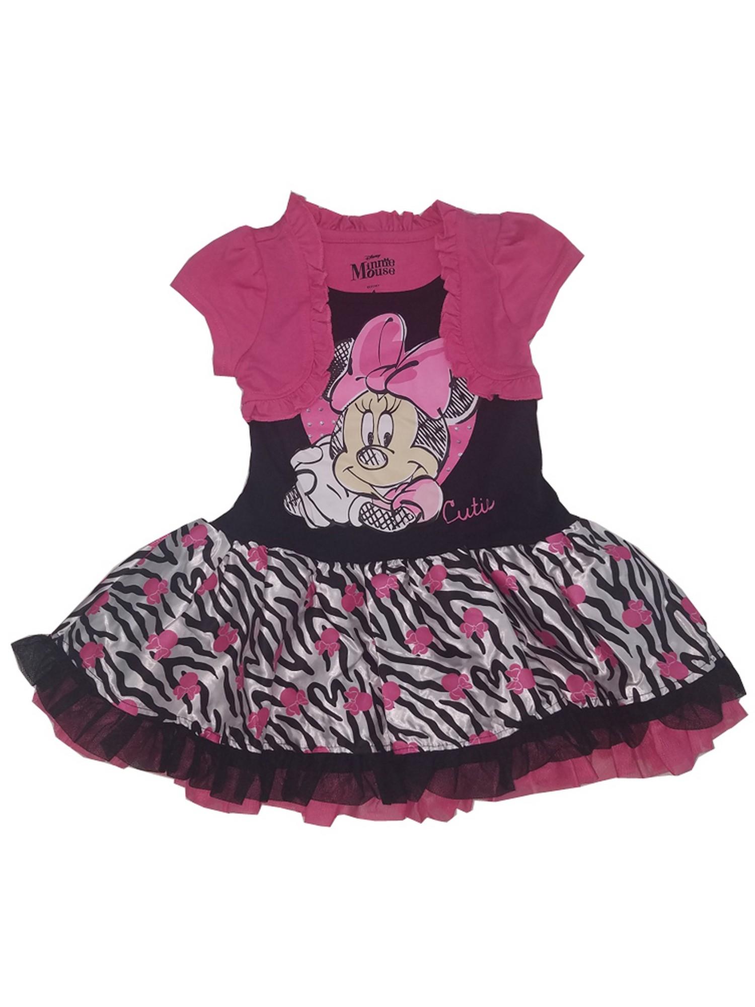 Minnie Mouse Ribbon trim Tutu with matching hair bows ~ fuchsia color