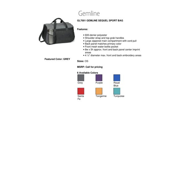 Gemline GL7001 Sequel Sport Bag - Purple - One Size - Walmart.com 50a43e40bcddd