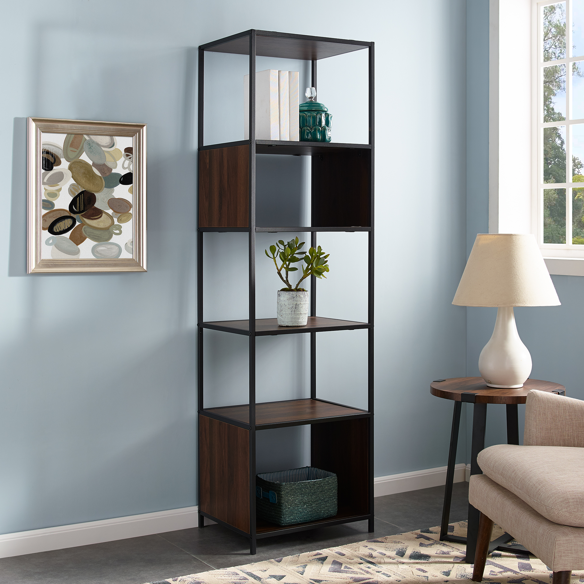 "Manor Park 70"" Urban Industrial Metal and Wood Bookshelf Audio Media Tower - Dark Walnut"