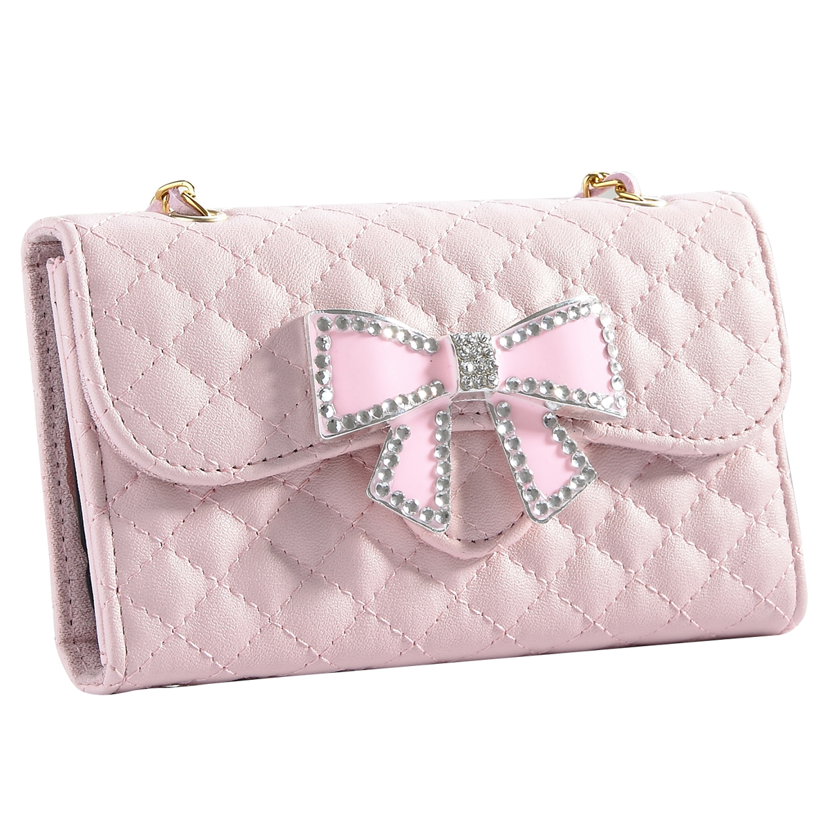 Galaxy S4 Case, S4 Case - ULAK Bling Glitter Rhinestone Bow Synthetic Leather Wallet Folio Case Cover Credit Card Holder w/ Magnetic Clasp for Samsung Galaxy S4 SIV i9500 (Lovely Pink)