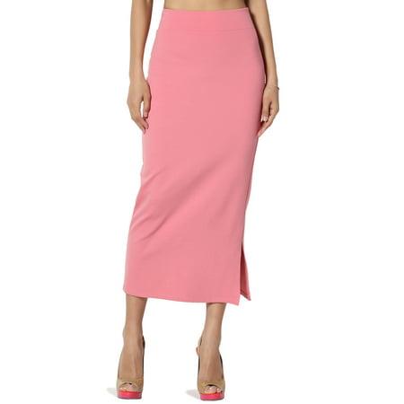 a0a6d8ec37 TheMogan Women's S~3X Side Slit Ponte Knit High Waist Mid Calf Long Pencil  Skirt