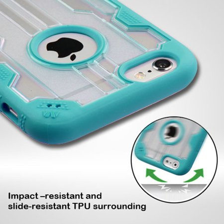 Insten Hard Rubber Coated Cover Case For Apple iPhone 6 Plus/6s Plus - Clear/Teal - image 3 de 7