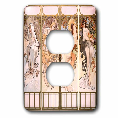 3dRose Image of Famous French Four Seasons Mucha Collage - 2 Plug Outlet Cover (lsp_240739_6) ()