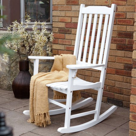 Rustic High Back Rocking Chair - Traditional Rocking Chair, White Painted